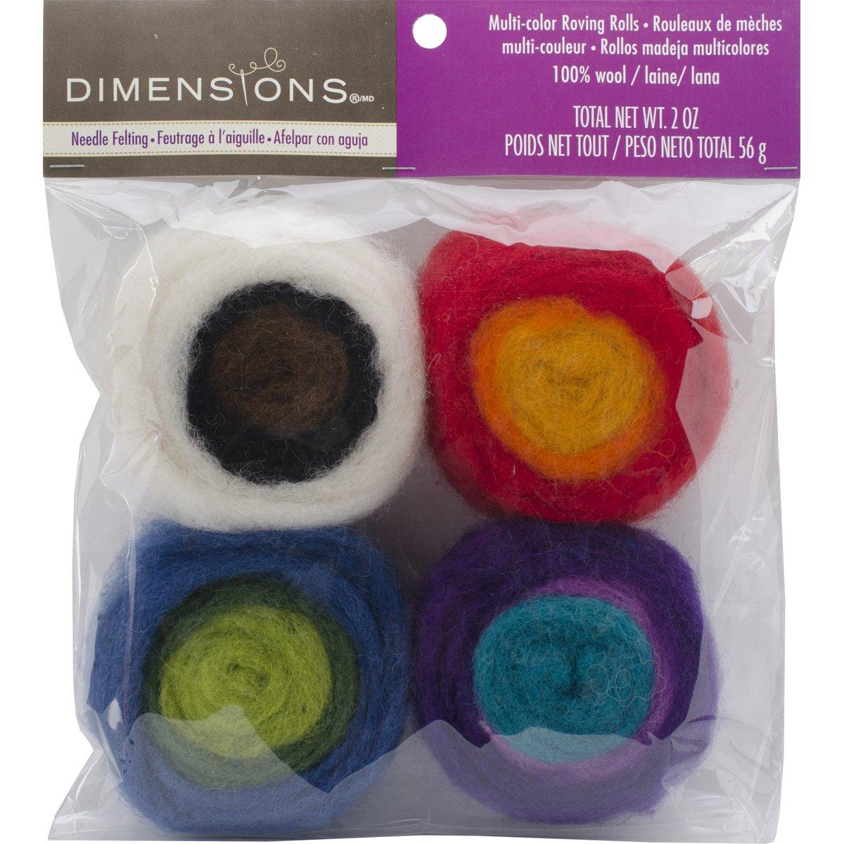 Feltworks Roving Rolls 2oz 4/Pkg, Multicolor Dimensions DIM72-73635