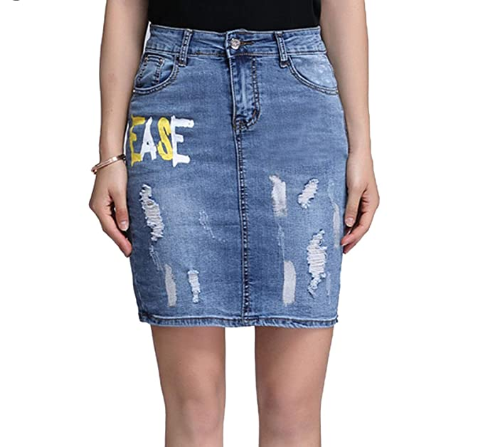 c6f720f3f7 Plus Size Stretchable Denim Skirts High Waist Autumn Short Pencil Jeans  Skirt Casual Bottoms Letter at Amazon Women's Clothing store: