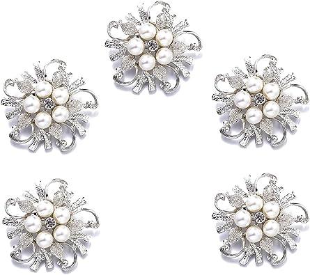 5pcs Silver 22mm Round Rhinestones Pearl Buttons DIY Wedding Decoration Buckles
