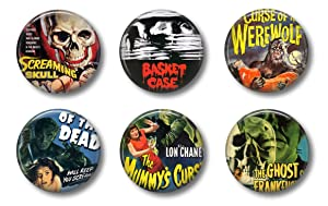 "Cute Locker Magnets For Teens - Vintage Horror Movies - Set of Six 1.75"" - Whiteboard Office or Fridge - Gift Set (Vintage Horror)"