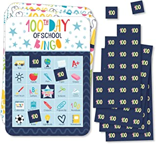 product image for Big Dot of Happiness Happy 100th Day of School - Picture Bingo Cards and Markers - 100 Days Party Bingo Game - Set of 18