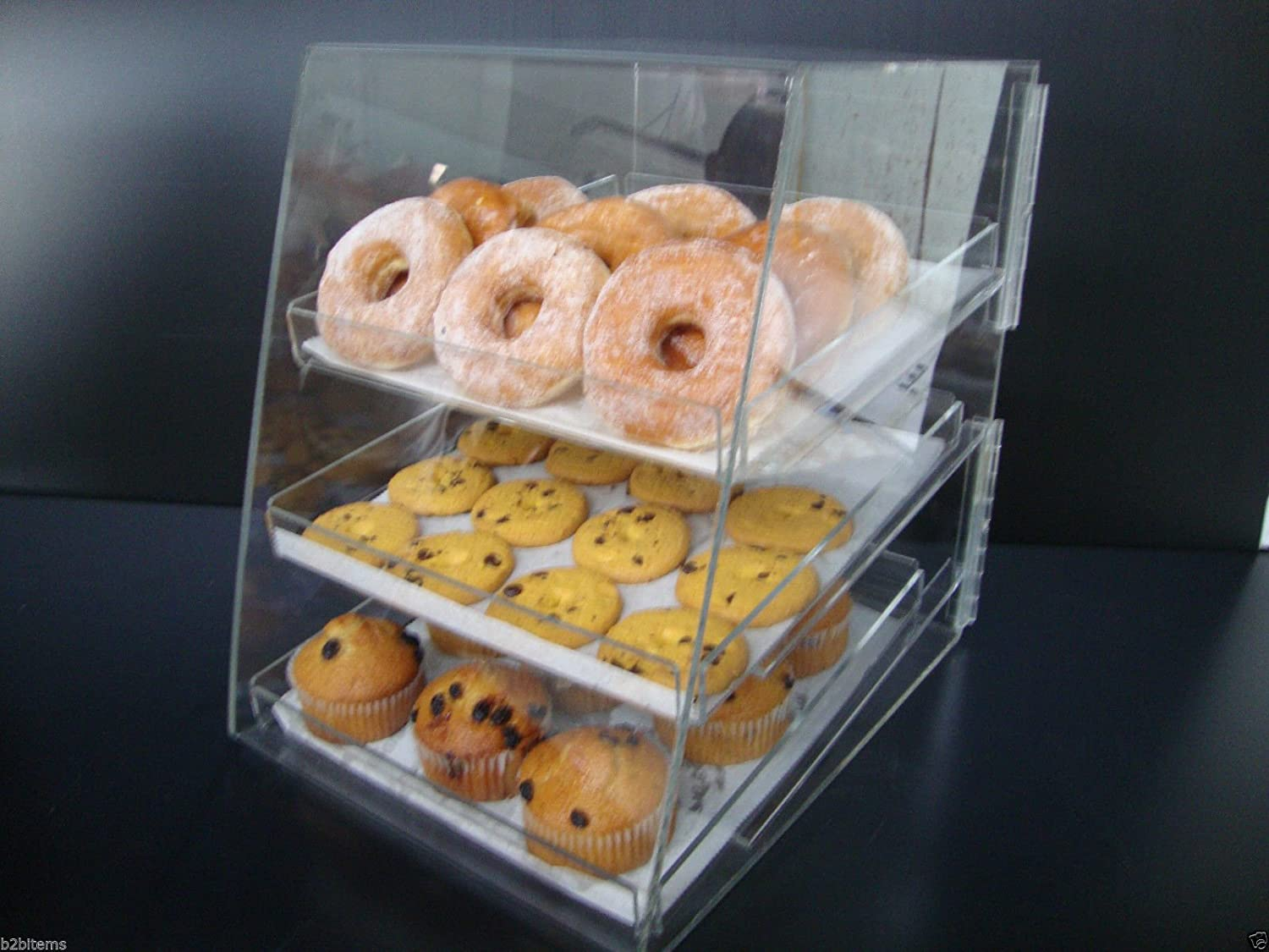 Displays2buy Acrylic Pastry Bakery Donut Bagels Cookie Display Case w/3 trays