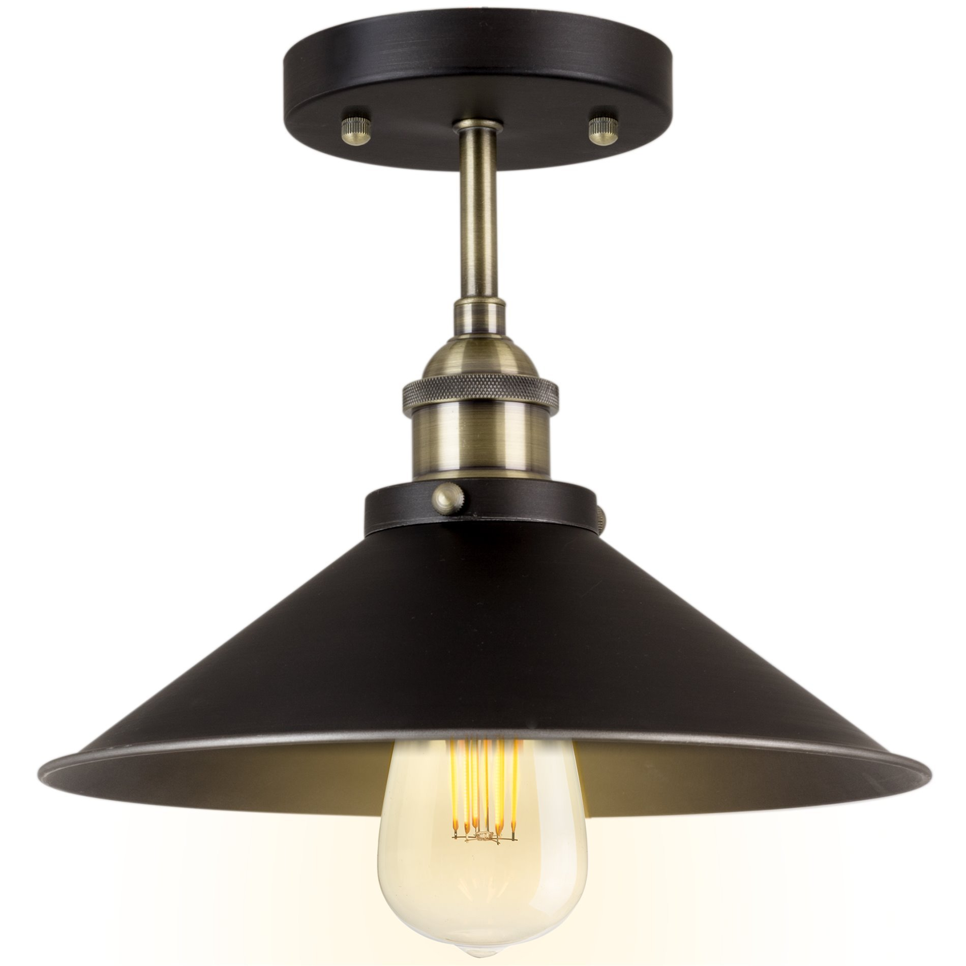 Kira Home Indie 10'' Industrial Semi Flush Mount Ceiling Light, Brushed Black Finish by Kira Home