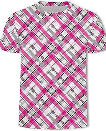efedg Camiseta de Talla Grande para Hombre - Estampado a Cuadros con Cuello Redondo Rainbow XXXXL @ Rainbow_XXXXXL: Amazon.es: Ropa y accesorios