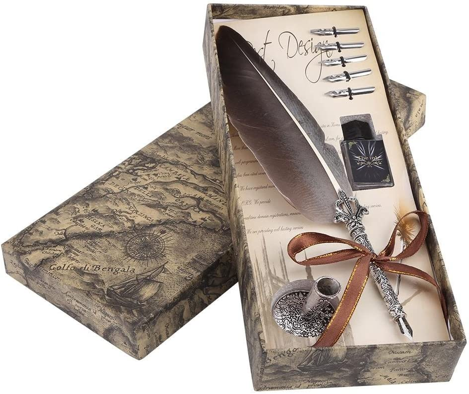 Valentine Gifts Pens Vintage Feather Quill Dip Pen Calligraphy Writing Ink Pen