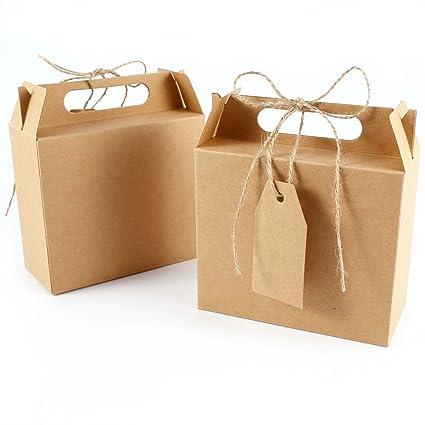 Caja Bolsa de Papel Kraft con Etiqueta Cinta para Dulces Regalos Recuerdo Detalle para Boda (