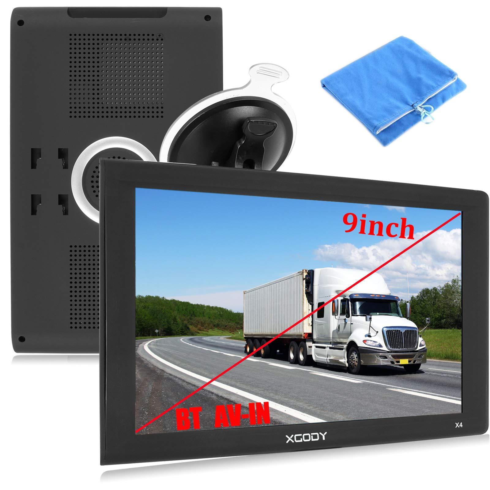 9inch Truck GPS Big Touchscreen Trucking GPS Bluetooth AV-in Xgody GPS Navigation for car Navigation 8GB ROM SAT NAV System Navigator Driving Alarm Lifetime Map Updates