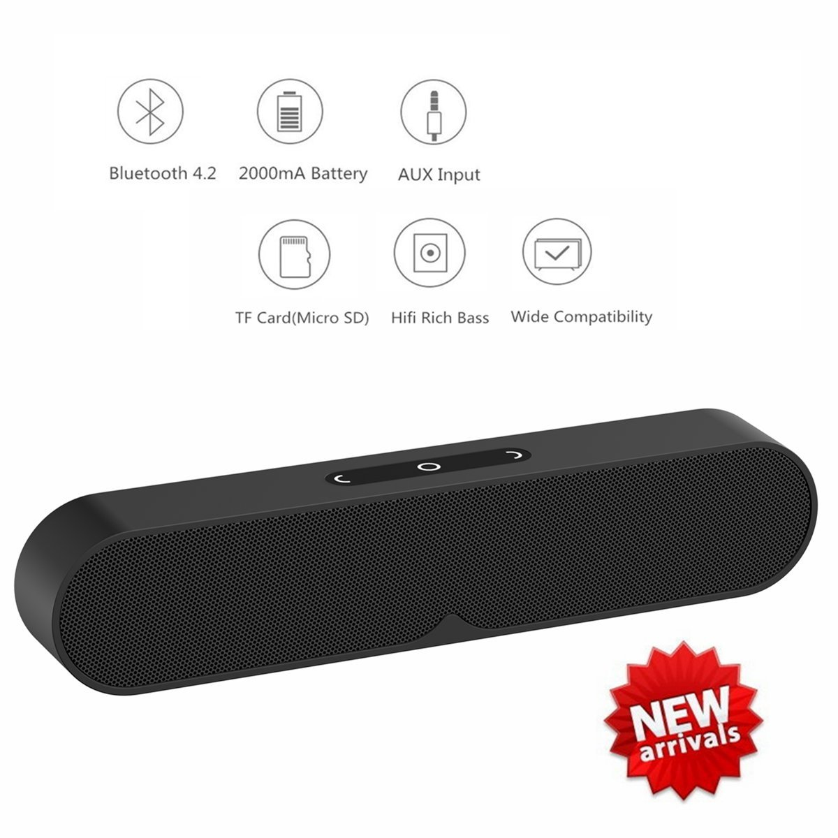 N&M Tech Bluetooth Speaker Soundbar Portable Wireless and Wired Speakers with Subwoofer Hifi Rich Bass for Phone TV Home Outdoor Travel Beach Party Shower Bluetooth 4.2 Stereo Sound Hands-Free by N&M Tech