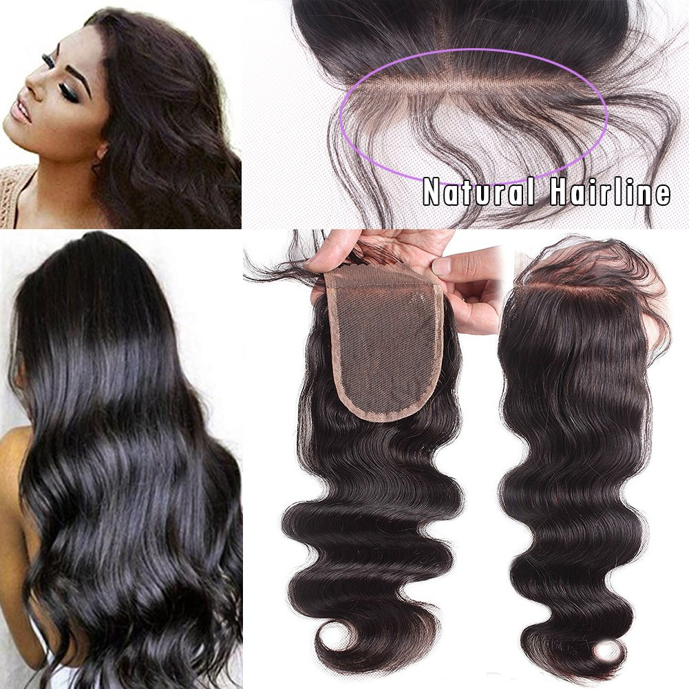 JAHUI Hair Brazilian Body Wave 3.5''x4''Lace Closure Unprocessed Virgin Hair Top Closure Bleached Knots with Baby Hair (8inch Free part)