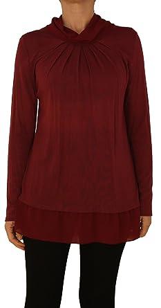 f90d5445a54de6 13317 PERANO Damen Pullover Strick Tunika Farbe Bordo Rot Konfektionsgröße  36 38 40 Internationale Größe S M L