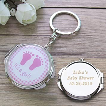 Personalized Baby Shower Pink Girl Mirror Keychain Favors with Baby Footprint Design Comes with...