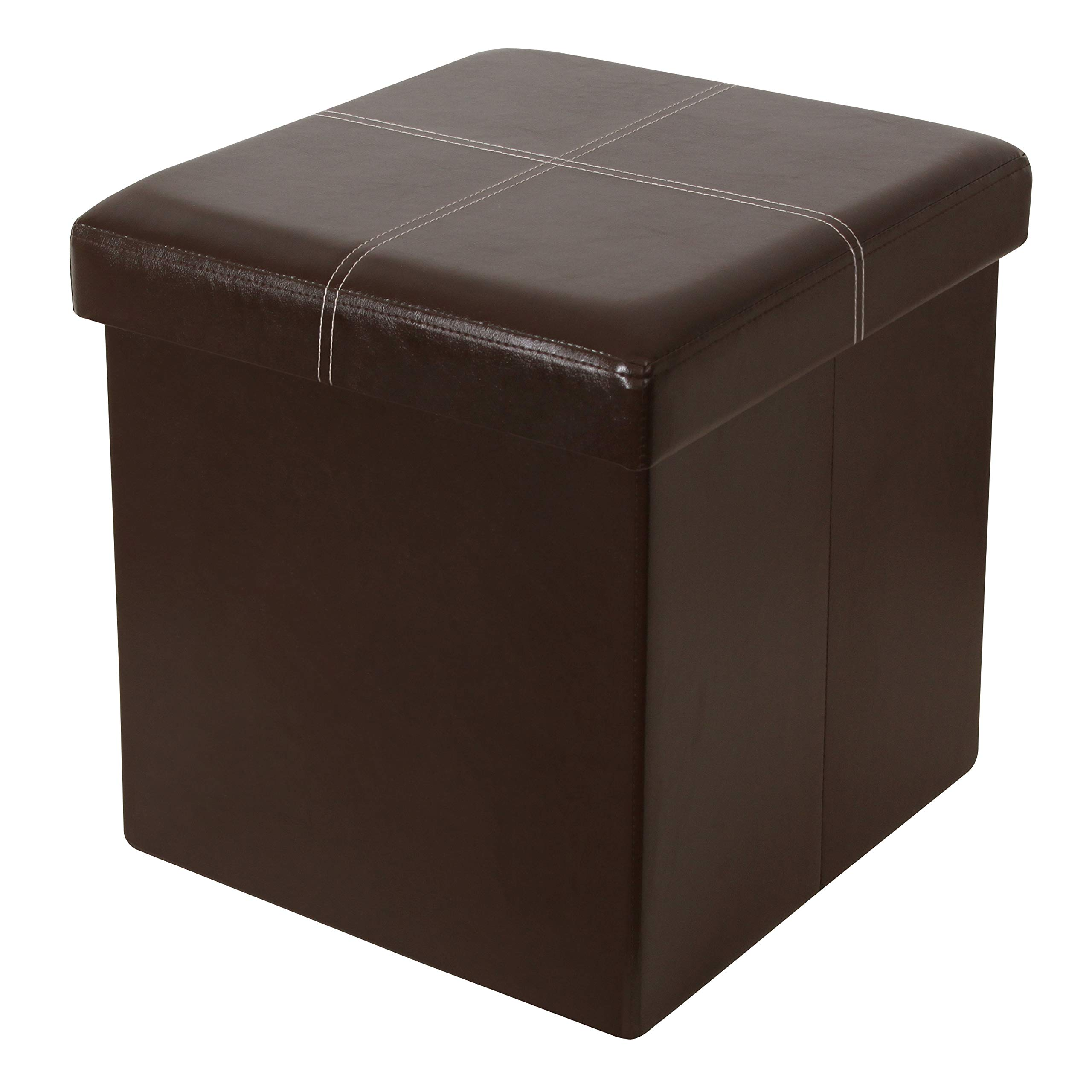 ITIDY Ottoman,Folding Storage Ottoman Cube Bench, Foot Rest Stool, Puppy Step, Storage Chest, Faux Leather, Brown by ITIDY