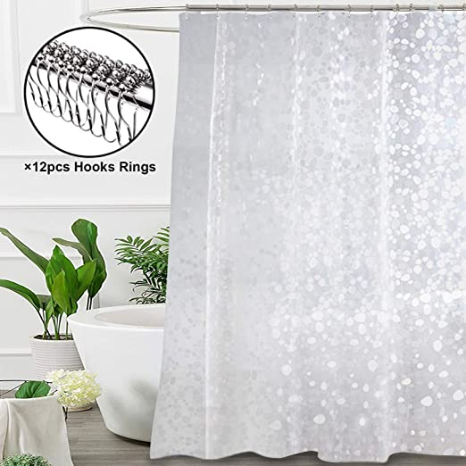 NEW MODERN DESIGN PEVA SHOWER BATHROOM CURTAIN WITH RING HOOKS 180 X 180 CM