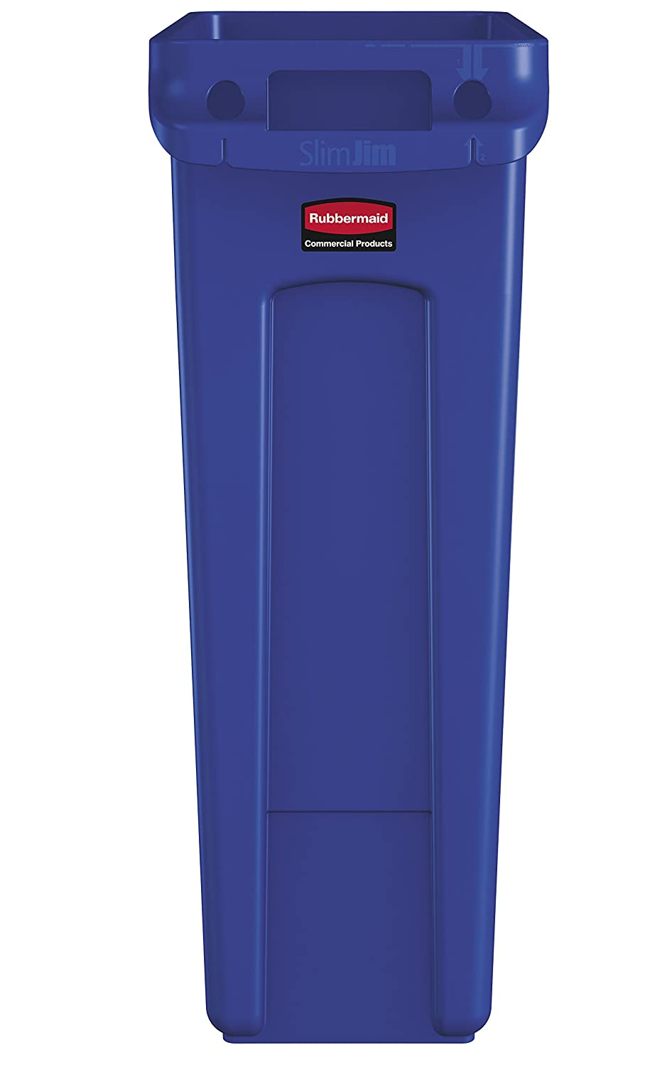 Rubbermaid Commercial Products Slim Jim Trash Can Waste Receptacle with Venting Channels, 23 Gallons, Blue (1956185)