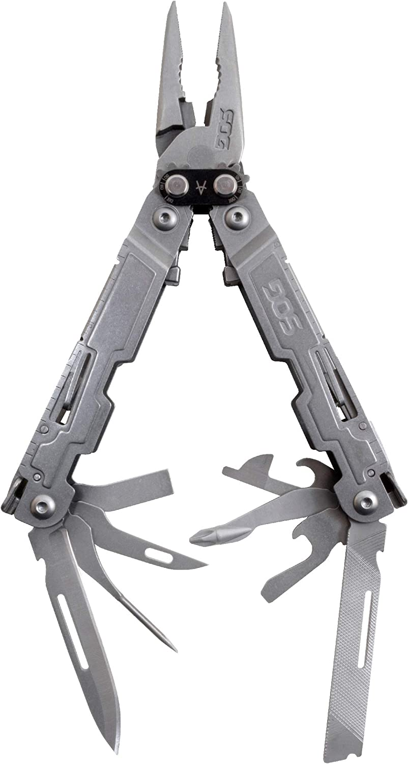 SOG Multitool Pliers Set with Knife – PowerAccess Lightweight Multi Tool Pocket Knife and Utility Tool Set w 18 Multi-Purpose Tools PA1001-CP
