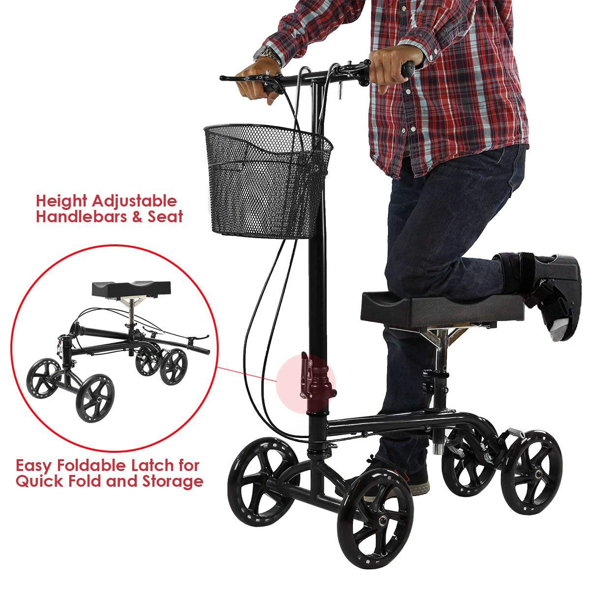 Clevr Foldable Knee Walker Scooter for Foot Injuries or Surgery, Adjustable with Dual Brake System & Basket, Medical Steerable Crutch Alternative, Black by Clevr