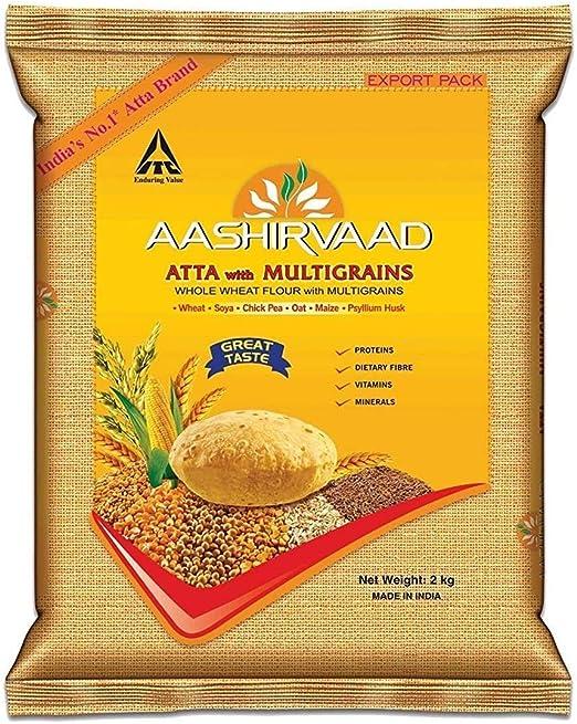 Aashirvaad - Harina de Trigo Integral Multicereales India con Distintos Cereales Para Hornear Panes Planos, Roti, Naan, Chapati y Puri - Bolsa de 2 kg: Amazon.es: Alimentación y bebidas