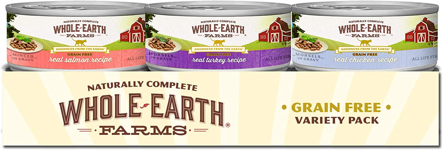 Whole Earth Farms Grain Free Wet Cat Food Variety Pack Real Chicken, Turkey & Salmon Morsels in Gravy Recipes - (24) 5 oz. Cans
