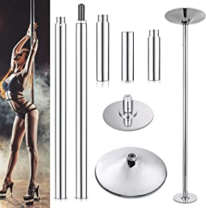 Yesker StripperPole ProfessionalSpinning and Static Dance Pole Heavy Duty LoadMax 450lbs Height Adjustable 45mm Tube Thicker 2.2mm for Fitness Exercise Dance Home Party Gym