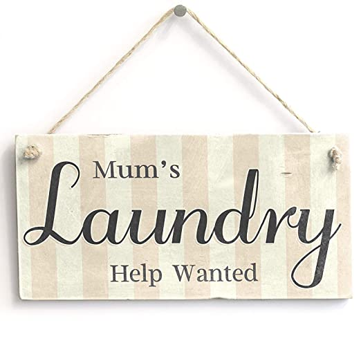 Mr.sign Mums Laundry Help Wanted Cartel de Pared Madera ...