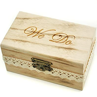 Amazoncom Rustic Wedding Ring Bearer Box Wood Wedding Ring Box