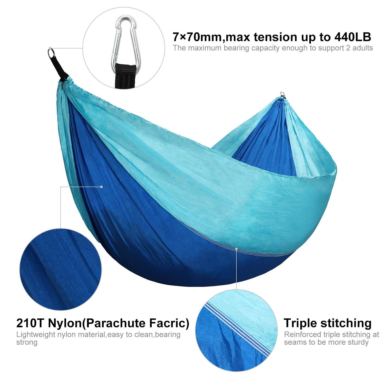 Camping//Hiking Hammock 440LB Capacity Portable Lightweight Nylon Hammock Best Parachute Hammock Double//Single for Indoor//Outdoor Activities