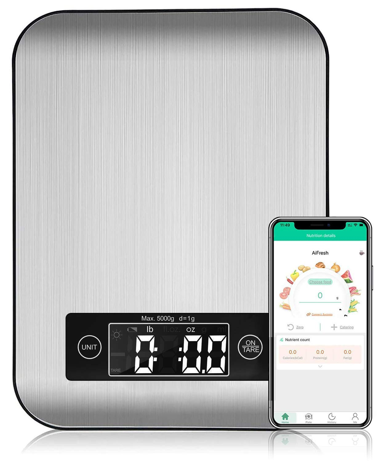 Ataller Smart Food Nutrition Scale, Bluetooth Kitchen Scales with Nutritional Calculator for Keto, Macro and Calorie, Digital Grams and Oz for Weight Loss, Cooking and Baking with Smartphone APP