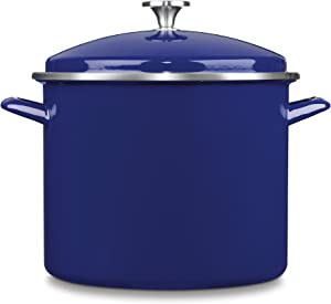 Cuisinart EOS126-28CBL Chef's Classic Enamel on Steel Stockpot with Cover, 12-Quart, Cobalt Blue