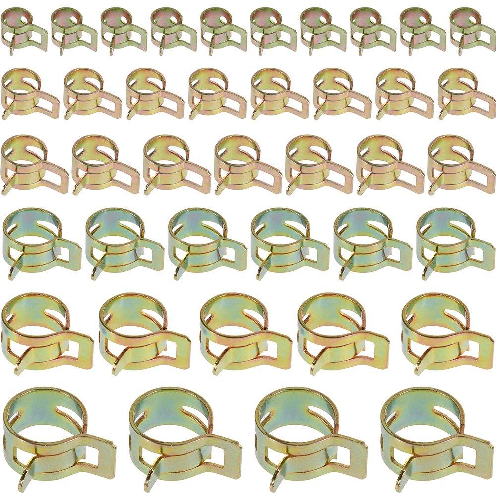 Anpro 60/St/ück Federklemme Schlauchschellen f/ür Wasserleitungen Verstellbare Schlauchbefestigung 6/Arten von Gr/ö/ßen zum Befestigen von flexiblen Schl/äuchen und Duriten