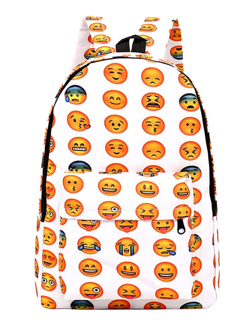 ThinkMax Unisex Students' Big Capacity Backpack Oxford Cloth QQ Emoji Expression Shoulder Bag