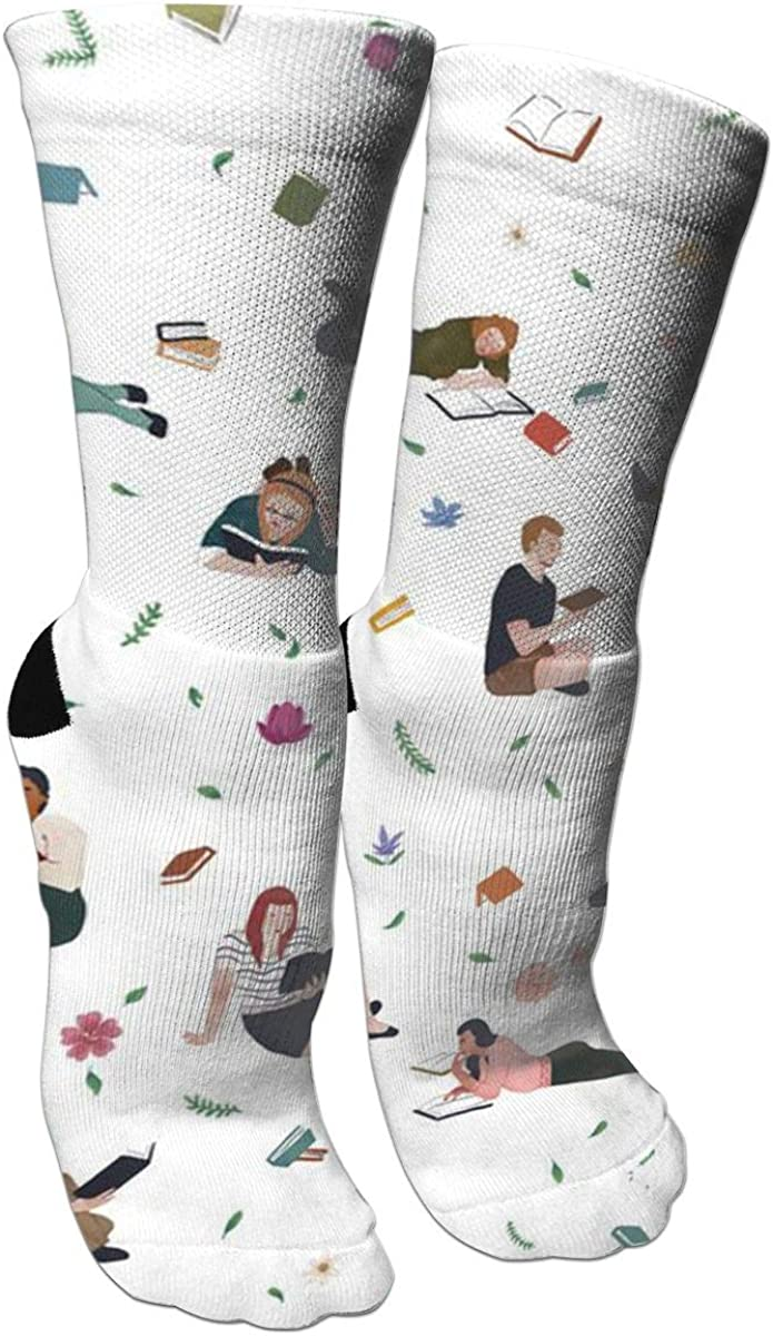People Who Read Colorful Books Casual Cotton Crew Socks Cute Funny Sock,great For Sports And Hiking