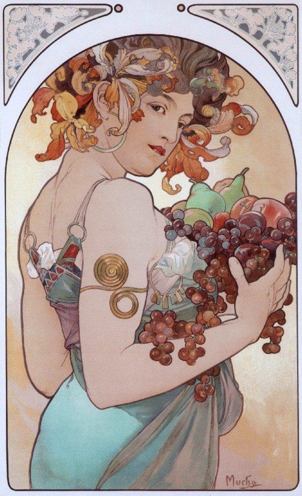 フルーツと花Bヴィンテージポスター(アーティスト: Mucha、Alphonse ) 9 x 12 Art Print LANT-58748-9x12 B017X6CA6U  9 x 12 Art Print