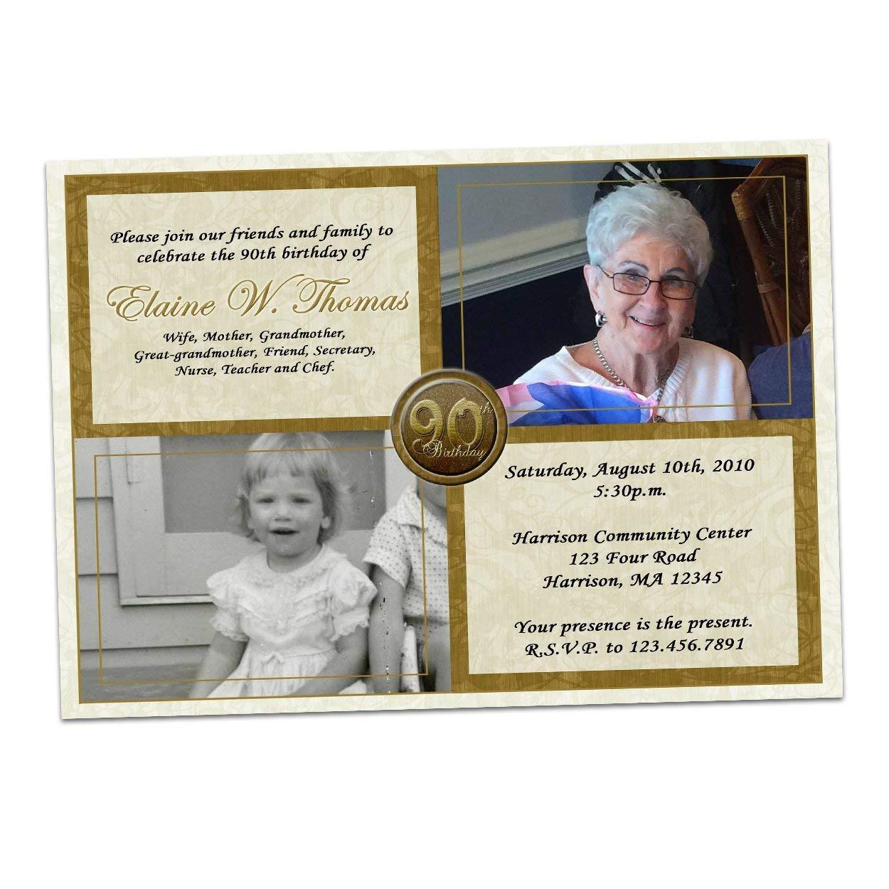 Amazon Gold Then Now Photo Birthday Invitations Man Woman 50th