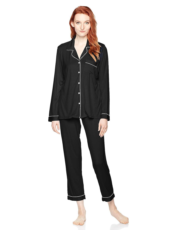 Black Selene Women's Long Sleeve Sleepwear Soft Loose Fit Pajama Set PJS Black SXL