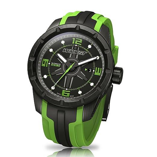 Color negro y verde relojes suizos reloj final Wryst ES30 para los deportes extremos: Amazon.es: Relojes