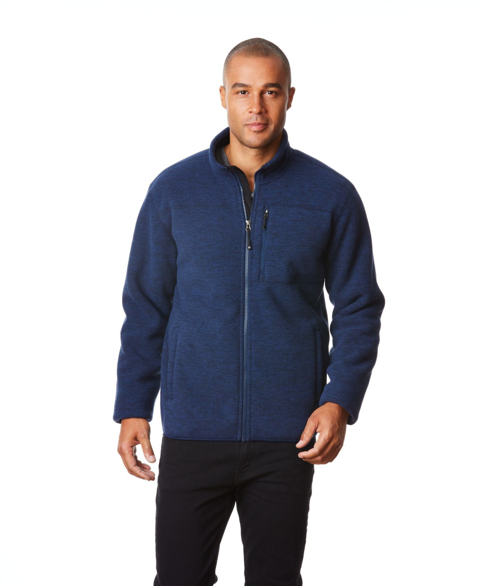 32 DEGREES Men's Fleece Sherpa Jacket, Copen Navy, M