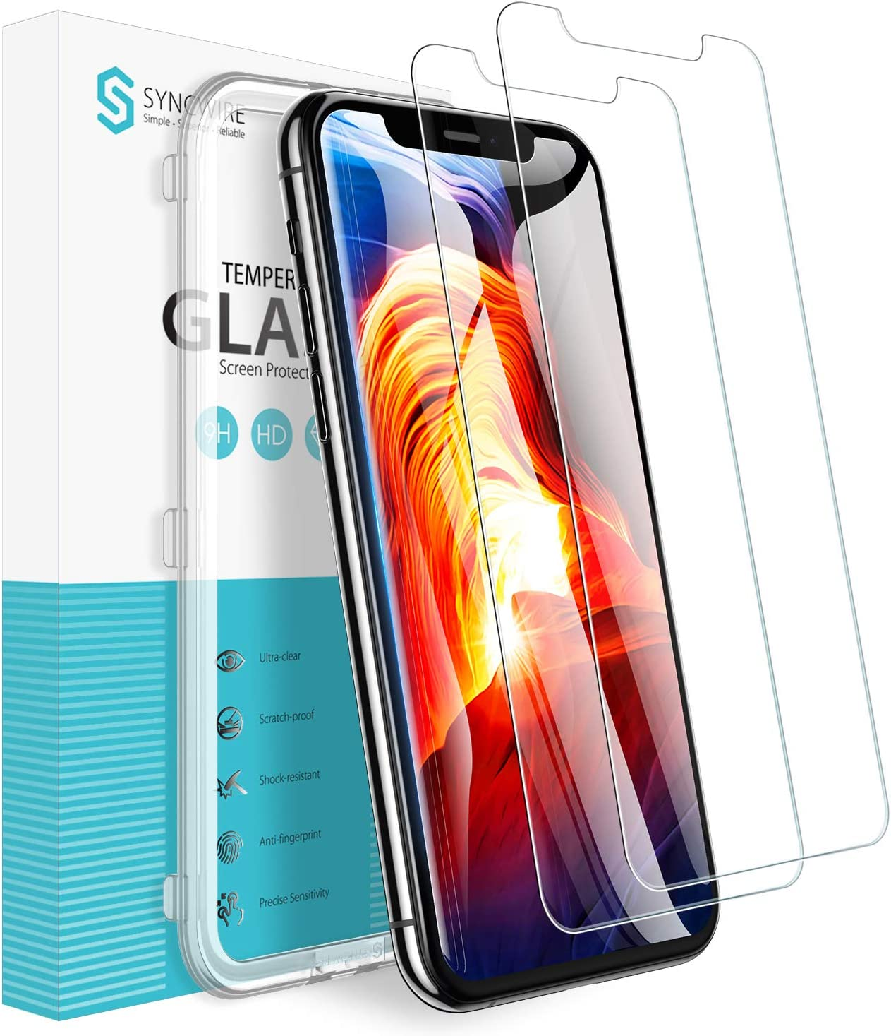 Syncwire Screen Protector for iPhone 11 Pro, iPhone Xs & iPhone X (2 Pack), Anti-Fingerprint Tempered Glass for iPhone 11 Pro/XS/X/10 (9H Hardness, Installation Frame, Bubble Free) [Not Edge to Edge]