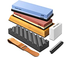Complete Knife Sharpening Stone Set – Dual Grit Whetstone 400/1000 3000/8000 Premium Whetstone Knife Sharpener with Leather S