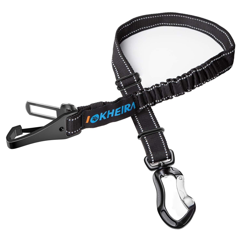 IOKHEIRA Dog Seatbelt, Updated Dog Seat Belt, Adjustable Dog Seatbelt Harness, Reflective Bungee Dog Car Seatbelt with…