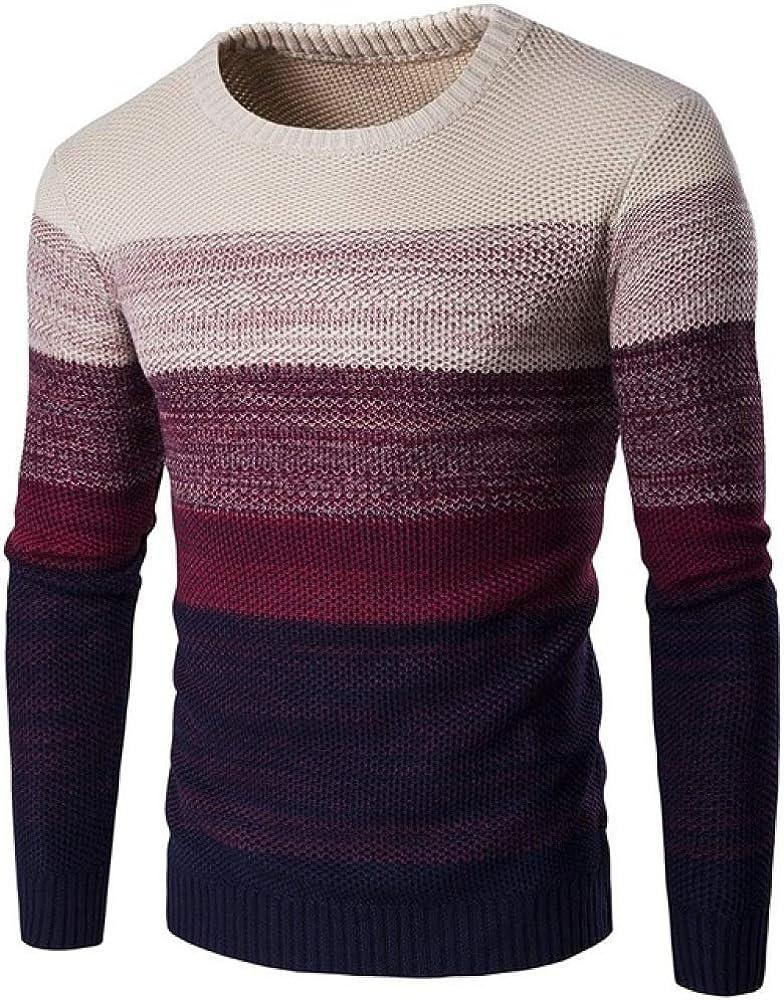 Loeay M/änner Neue Ankunft Casual Pullover Herbst O Neck Farbverlauf Qualit/ät Gestrickte Leichte Atmungsaktive Langarm M/ännliche Pullover Tops