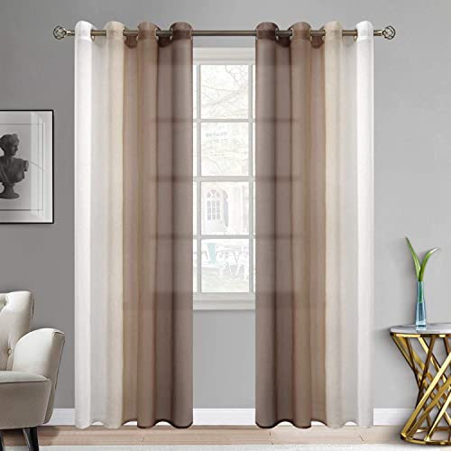 BGment Ombre Sheer Curtains Faux Linen Grommet Light Filtering Semi Sheer Gradient Window Curtain Pair for Bedroom Living Room, Set of 2 Panels Each 52 x 84 Inch, Light Brown
