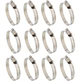"ABN Hose Clamp 12-Pack, 2-1/2"" Inch, Zinc Plated, 40-64mm Range – For Plumbing, Automotive, and Mechanical Applications"