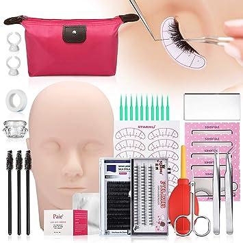 eb4d5b20f24 False Eyelashes Extension Practice Exercise Set, LuckyFine 17pcs  Professional Head Model Lip Makeup Eyelash Grafting