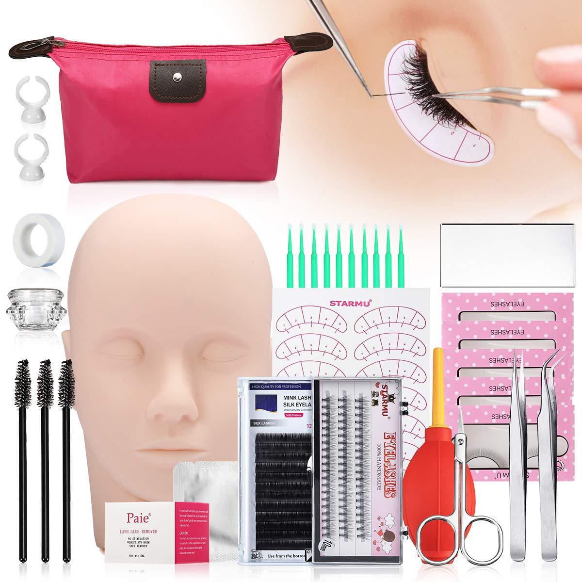 False Eyelashes Extension Practice Exercise Set, LuckyFine 17pcs Professional Head Model Lip Makeup Eyelash Grafting Training Tool Kit for Practice Eye Lashes Graft (Glue and Cleaner Not Include)