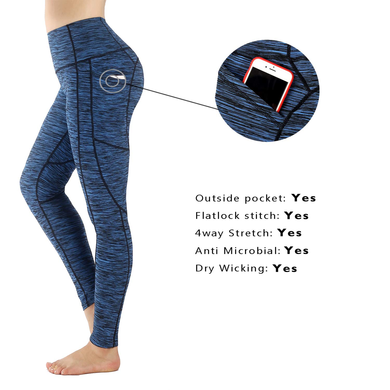 Sugar Pocket Womens Yoga Leggings Fitness Tights Workout Pants Gym Leggings with Side Pocket
