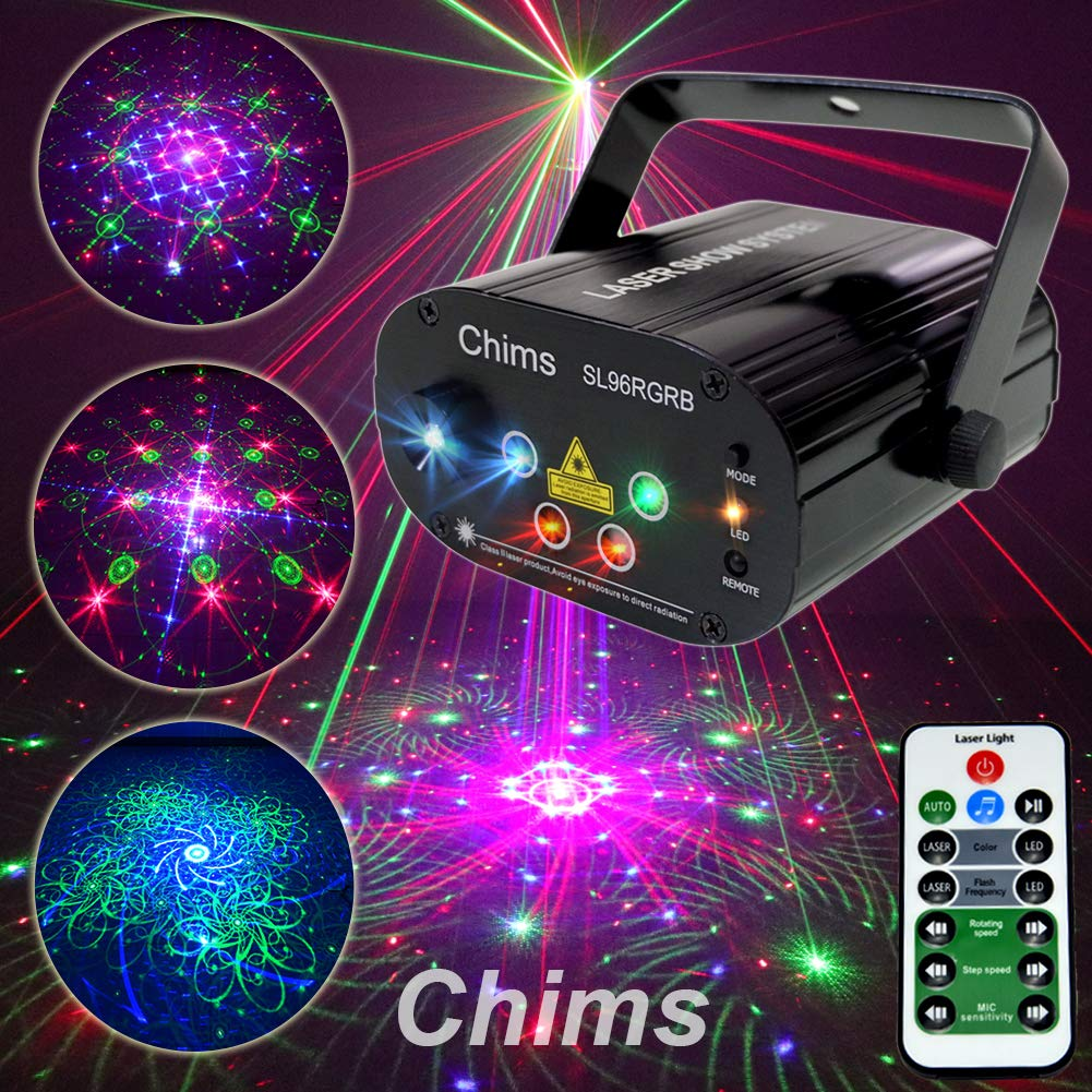Chims DJ Laser Light Show Projector Red Green Blue Laser with LED 96 Patterns RGRB Color Decoration Lighting System for Family Party DJ Disco Music Show Luses Bar Club Xmas (4 Lens RGRB 96 Patterns) by Chims