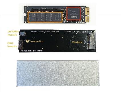 Carcasa externa de Macbook Air Pro Retina 2013, 2014, SSD, USB 3.0 plata