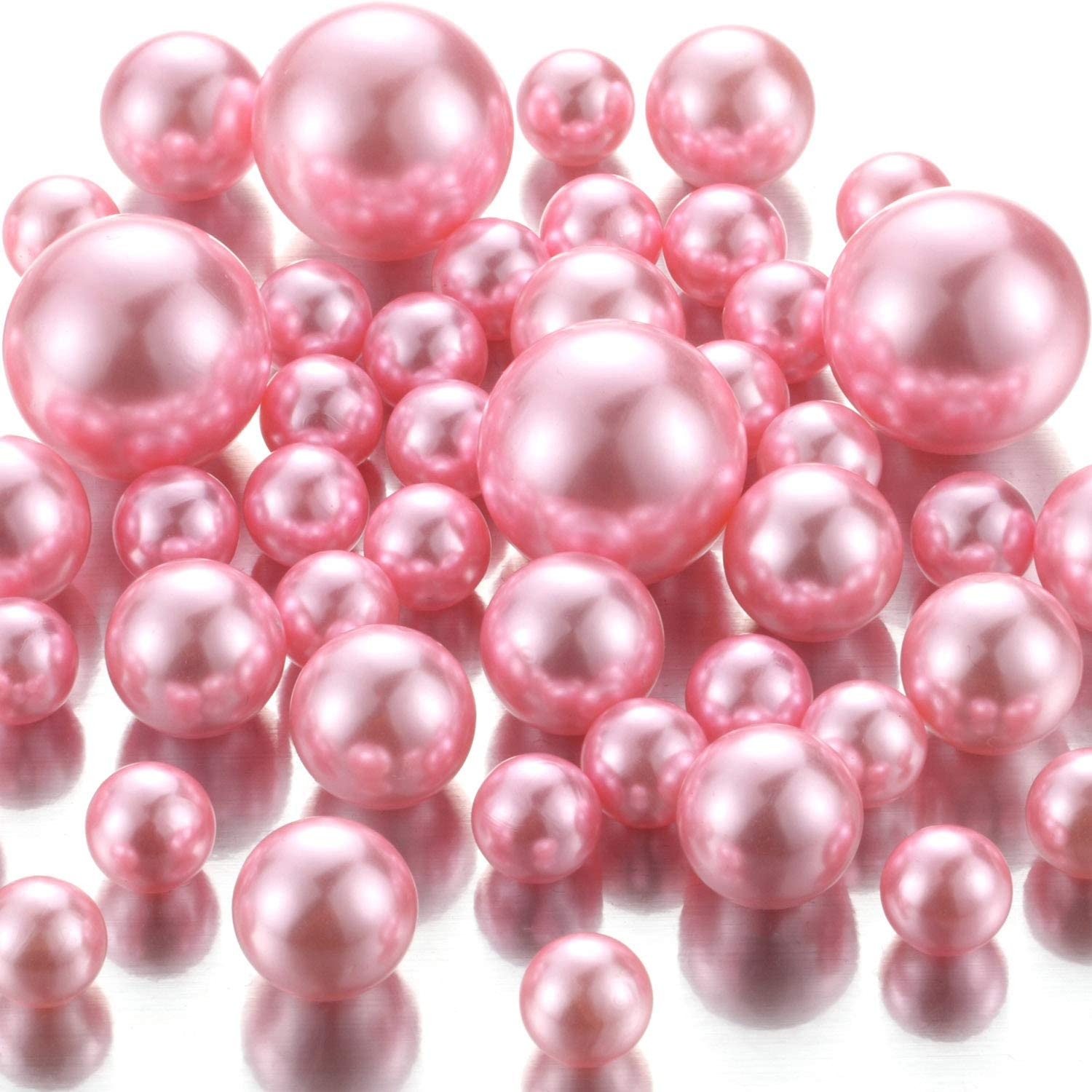 20mm Birthday No Hole Highlight Pearl Bead Vase Fillers for Centerpieces Anniversary 30mm DIY Weddings 100PCS Dreamy Purple Floating Pearls Beads for Vases and 14mm Valentines Day Centerpiece