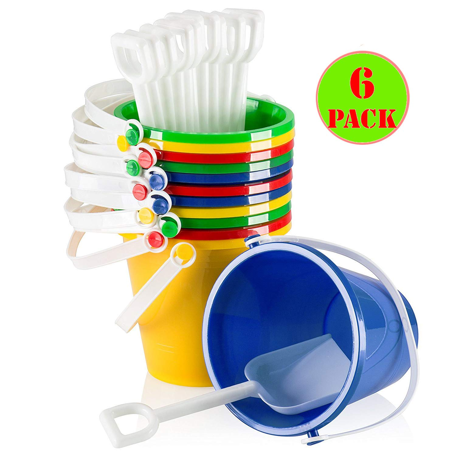 Top Race 5'' Inch Beach Pails Sand Buckets and Sand Shovels Set for Kids | Beach and Sand Toys at the beach | Use for Sand Molds at the Sandbox (Pack of 6 Sets) by Top Race