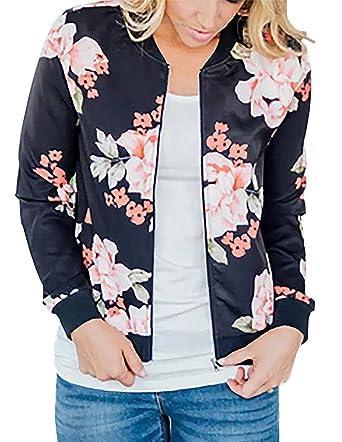 ae05ace70 ChainJoy Women Floral Zipper Jacket Classic Long Sleeve Short Bomber Jacket  Coat